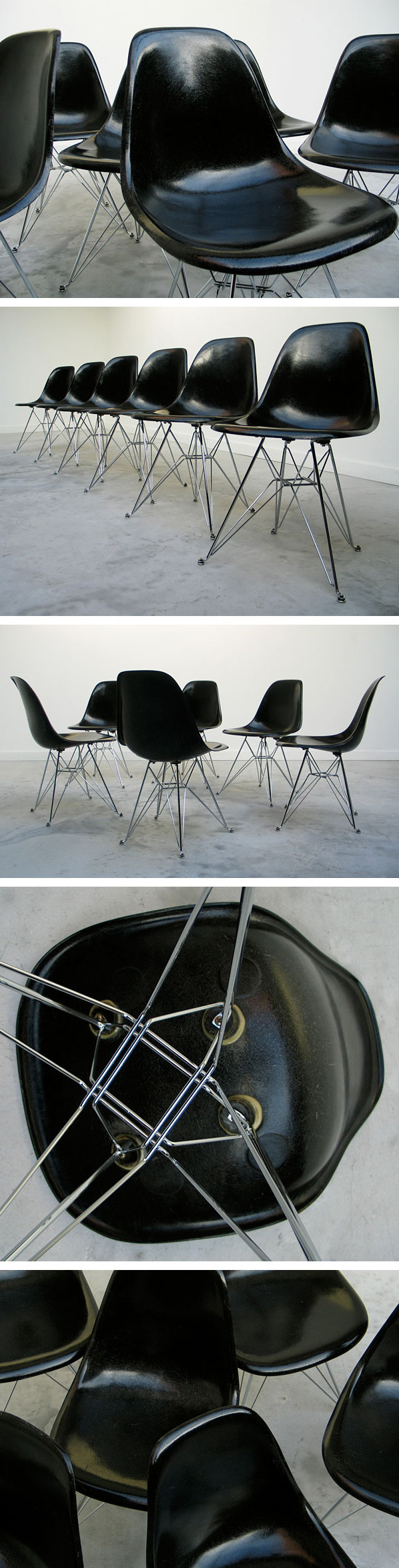 6 black Charles Eames DSR fibreglass shell dinning chairs Large