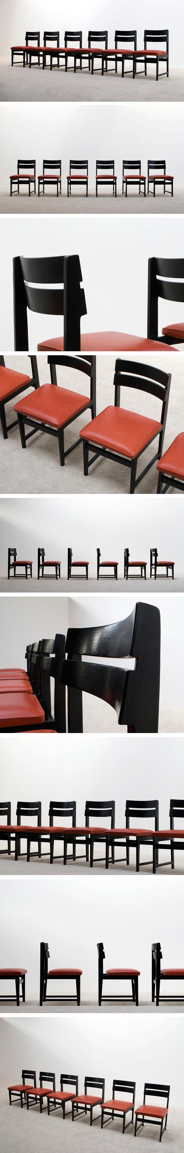 6 black ebonized dinning chairs Large