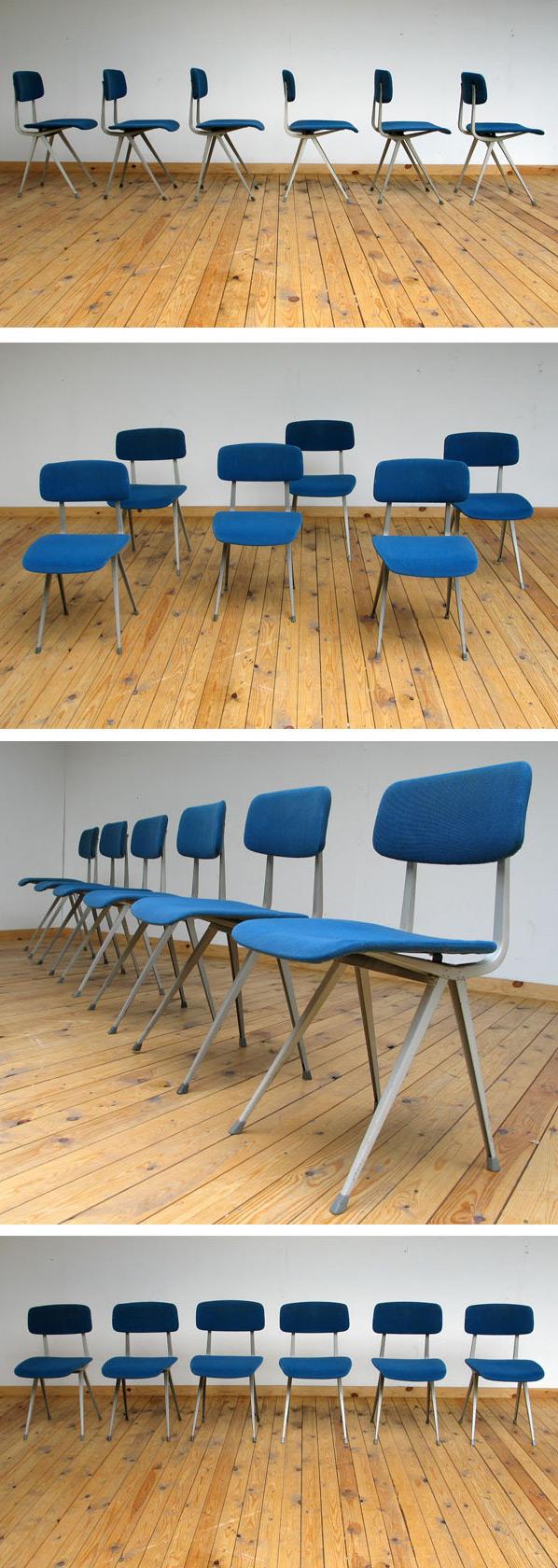 6 blue industrial Friso Kramer chairs model Result Large
