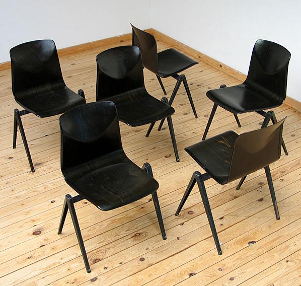 6 industrial black plywood school chairs