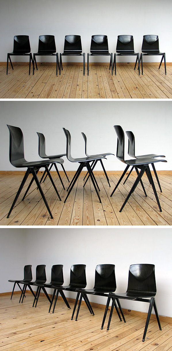 6 industrial black plywood school chairs Large