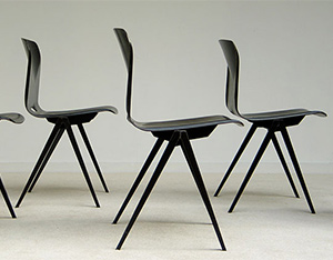 6 industrial plywood school chairs