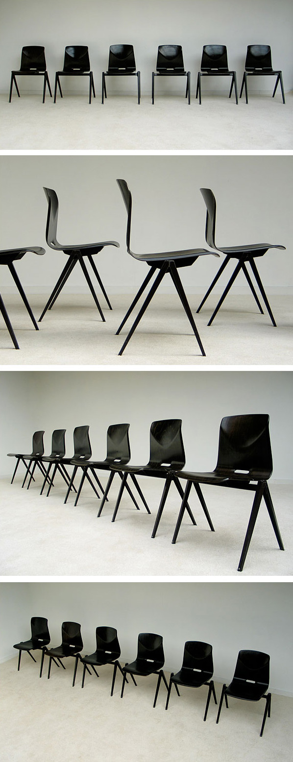6 industrial plywood school chairs Large