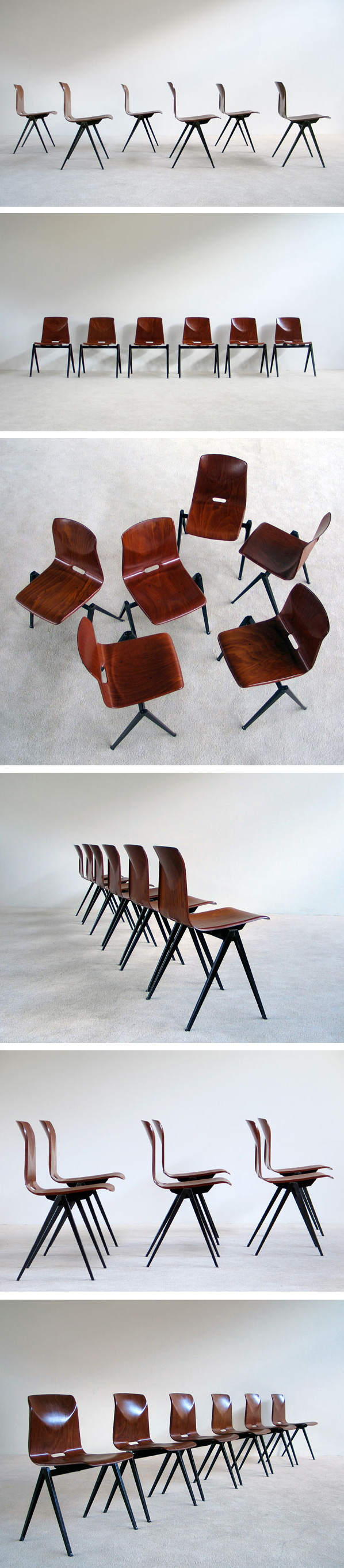 6 industrial plywood school compass chairs Large