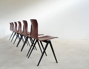 6 industrial plywood school compass chairs
