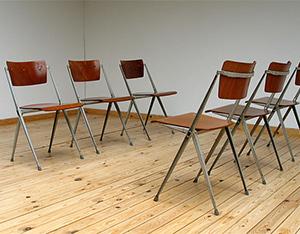 6 industrial Pyramid chairs Wim Rietveld De Cirkel