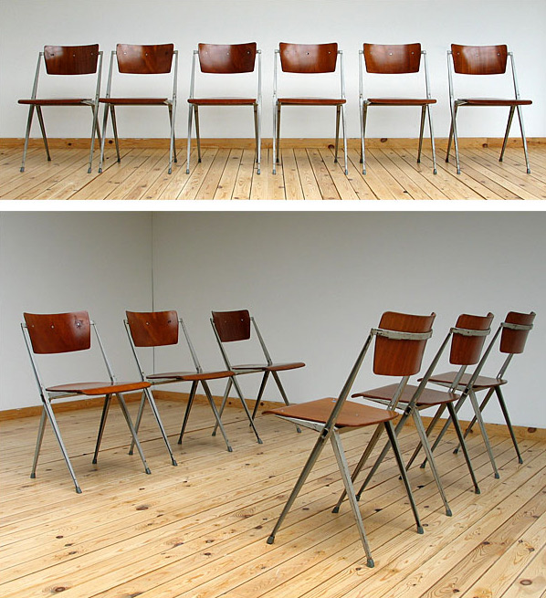 6 industrial Pyramid chairs Wim Rietveld De Cirkel Large