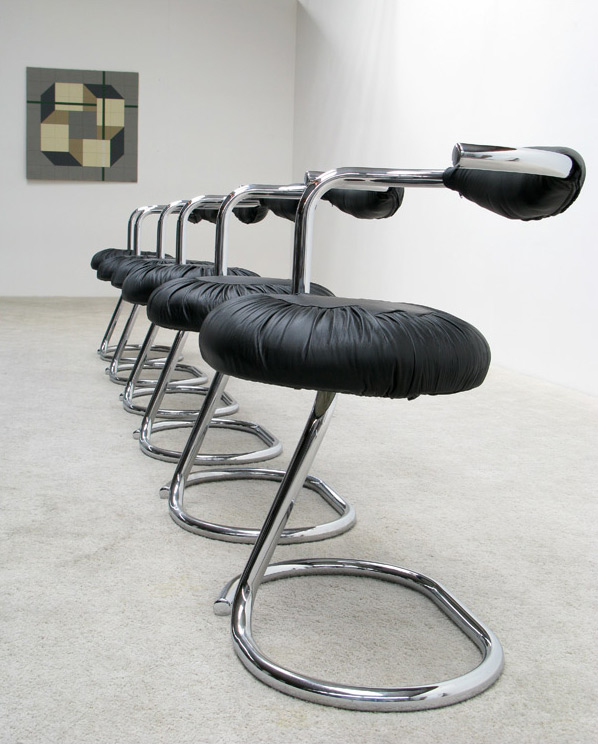 6 Tubular chrome and leather dining chairs
