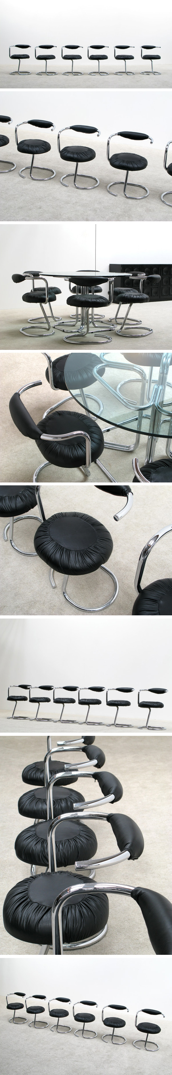 6 Tubular chrome and leather dining chairs Large