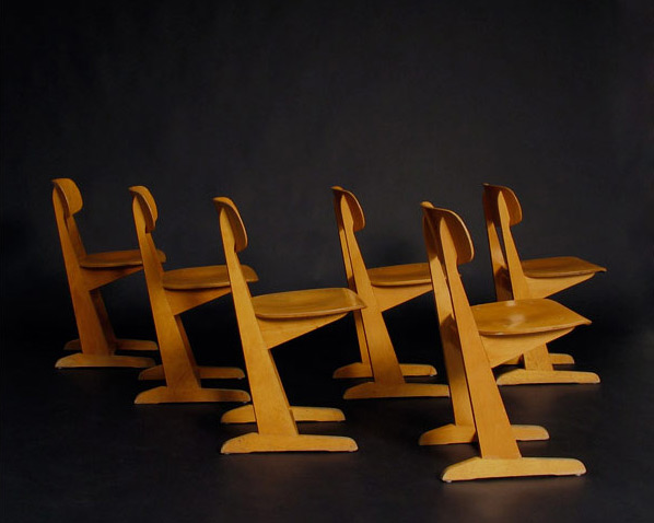 6 Wooden school chairs Casala 1970