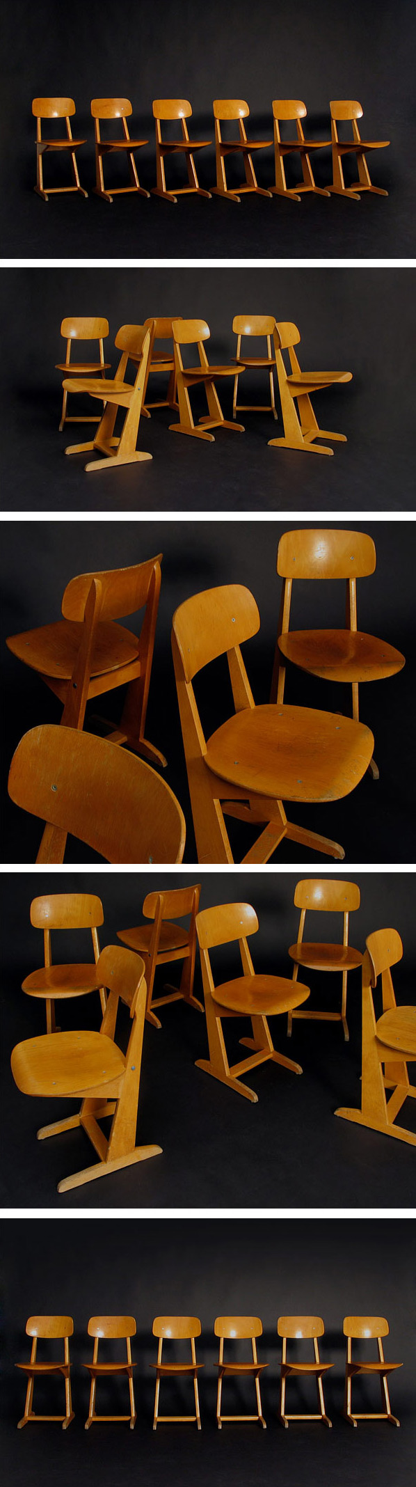 6 Wooden school chairs Casala 1970 Large