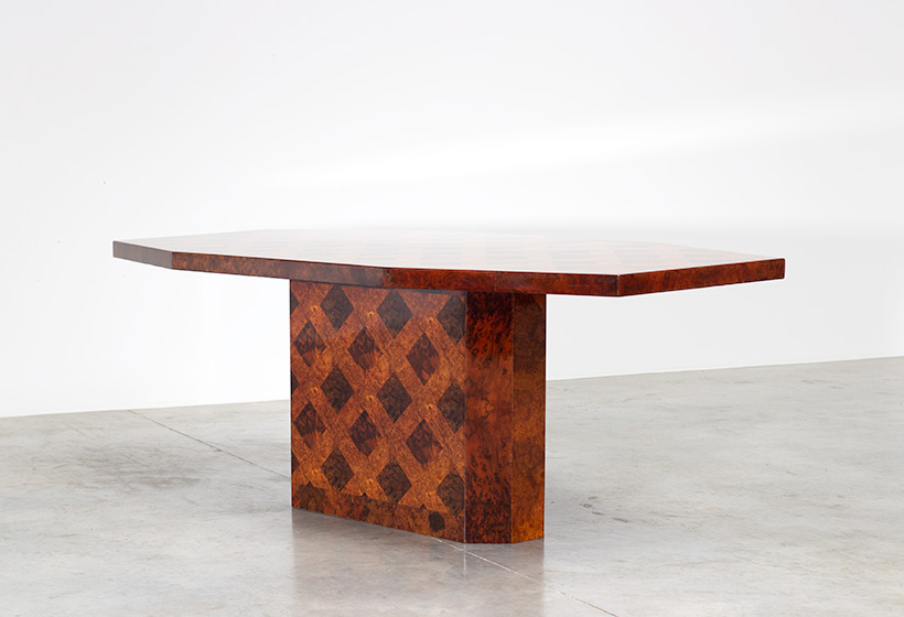 70s patchwork burl wooden dining table or console img 7