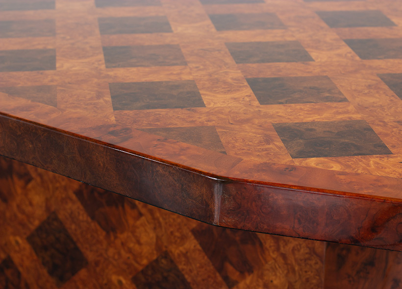 70s patchwork burl wooden dining table or console img 8