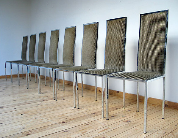 8 French chrome dinning chairs Willy Rizzo