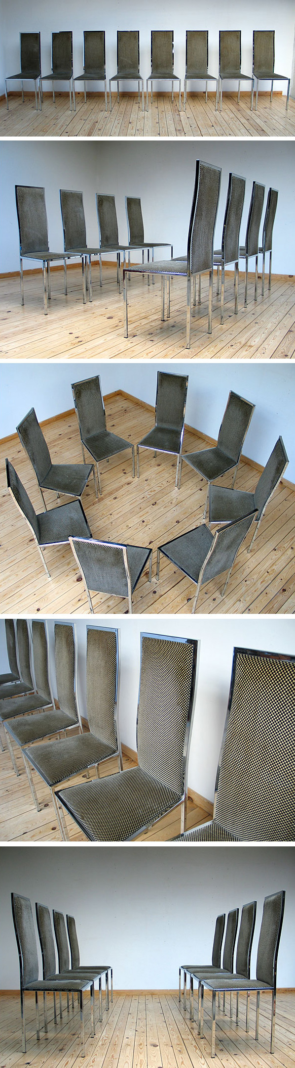 8 French chrome dinning chairs Willy Rizzo Large