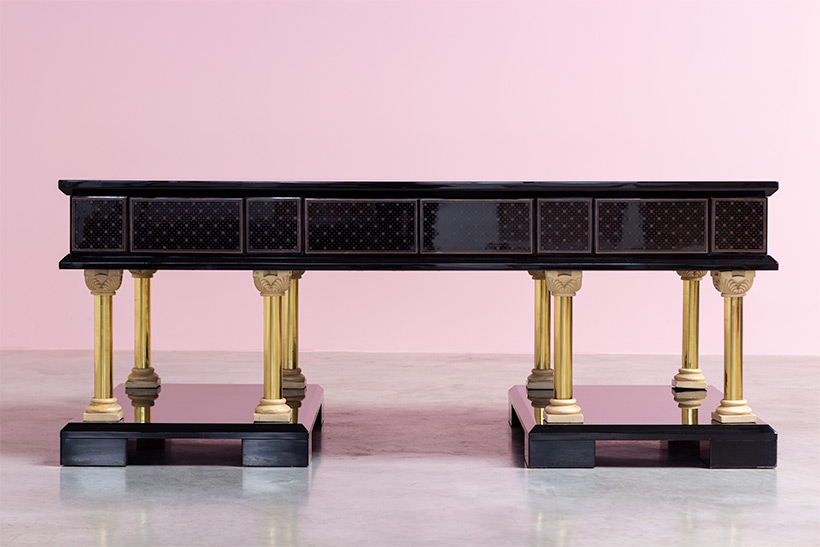 80s black lacquered eclectic postmodern desk or writing table img 4