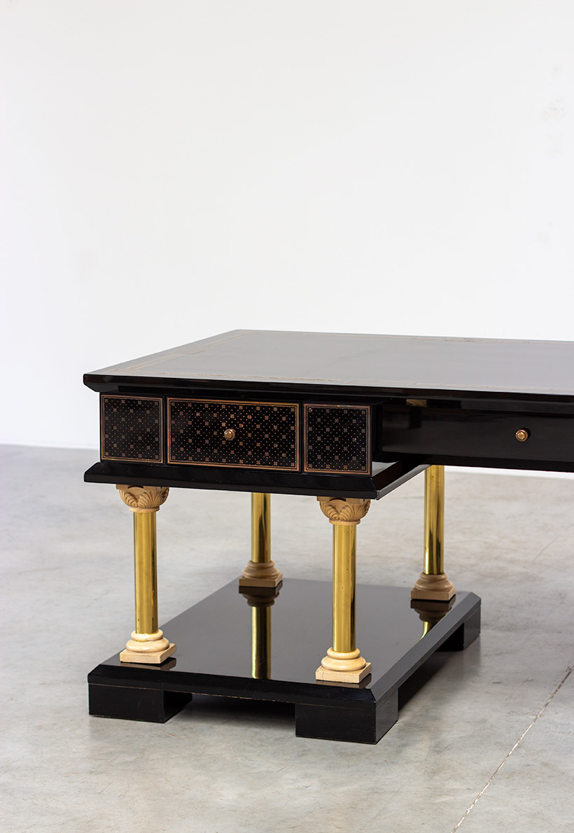 80s black lacquered eclectic postmodern desk or writing table img 5