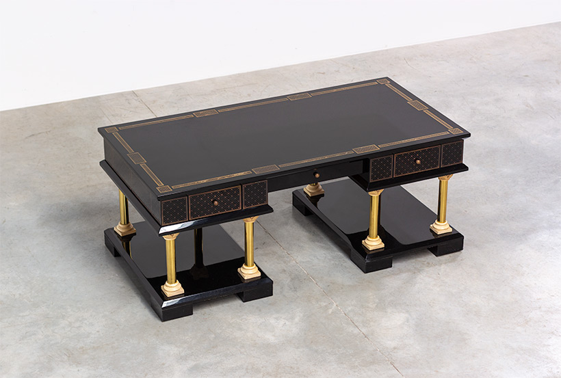 80s black lacquered eclectic postmodern desk or writing table img 7