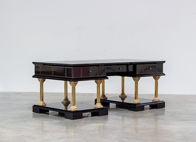 80s black lacquered eclectic postmodern desk or writing table img 8