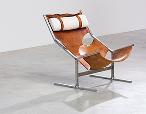 Abraham Polak leather and steel lounge chair modernism 1960