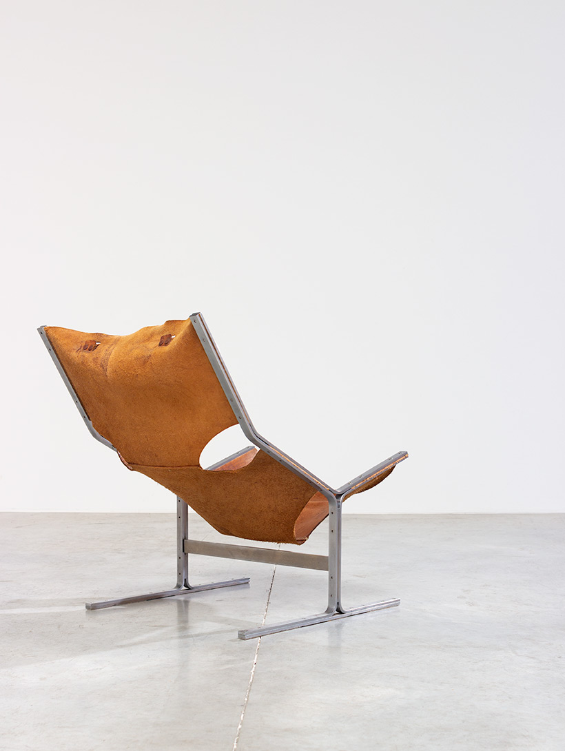 Abraham Polak leather and steel lounge chair modernism 1960 img 12