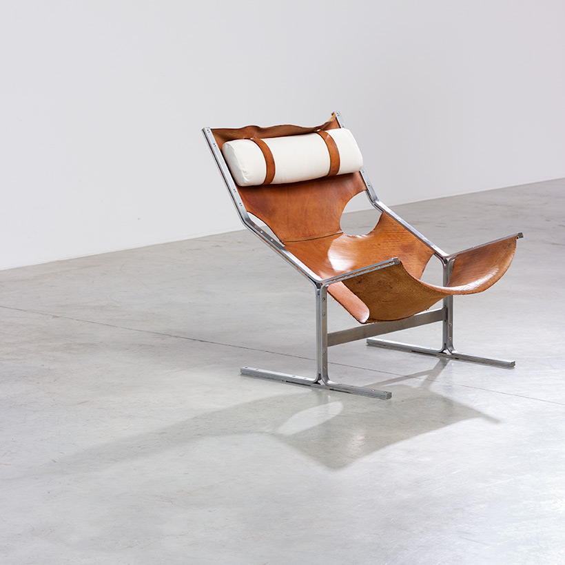 Abraham Polak leather and steel lounge chair modernism 1960 img 3
