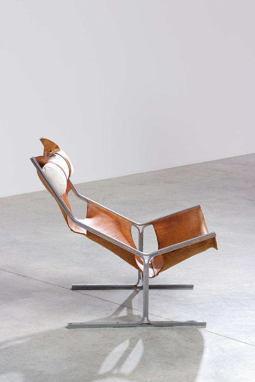 Abraham Polak leather and steel lounge chair modernism 1960 img 4