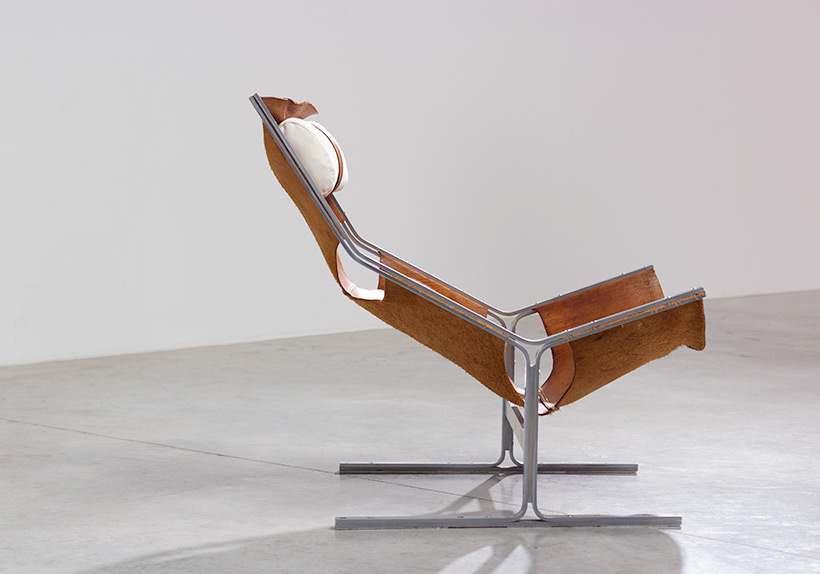 Abraham Polak leather and steel lounge chair modernism 1960 img 5