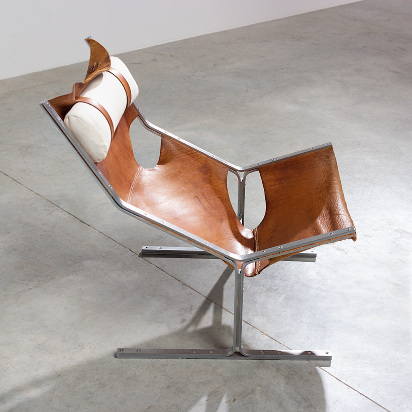 Abraham Polak leather and steel lounge chair modernism 1960 img 6