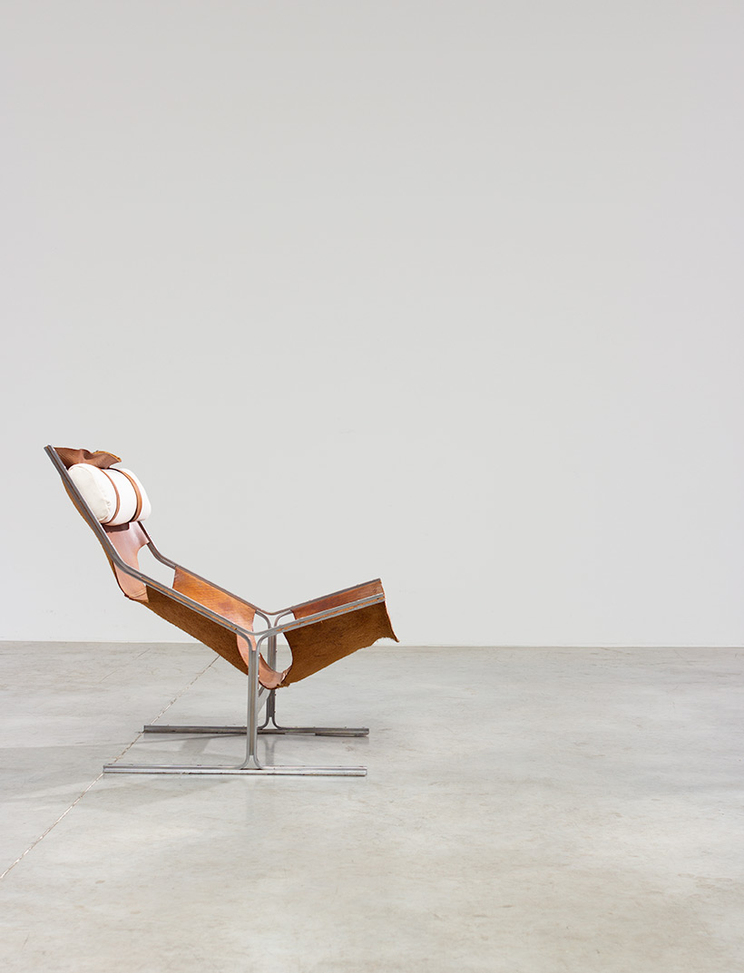 Abraham Polak leather and steel lounge chair modernism 1960 img 7