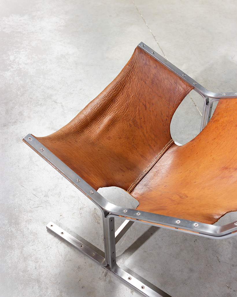 Abraham Polak leather and steel lounge chair modernism 1960 img 9