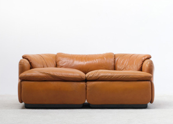 Alberto Rosselli Leather Confidential sofa Saporiti
