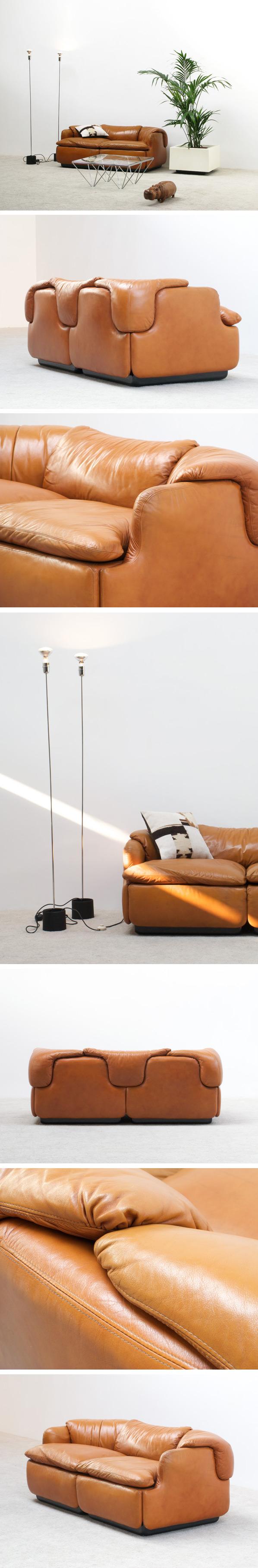 Alberto Rosselli Leather Confidential sofa Saporiti Large