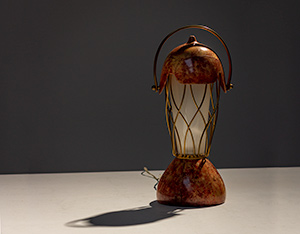 Aldo Tura parchment goatskin table lamp with brass cage 1950s