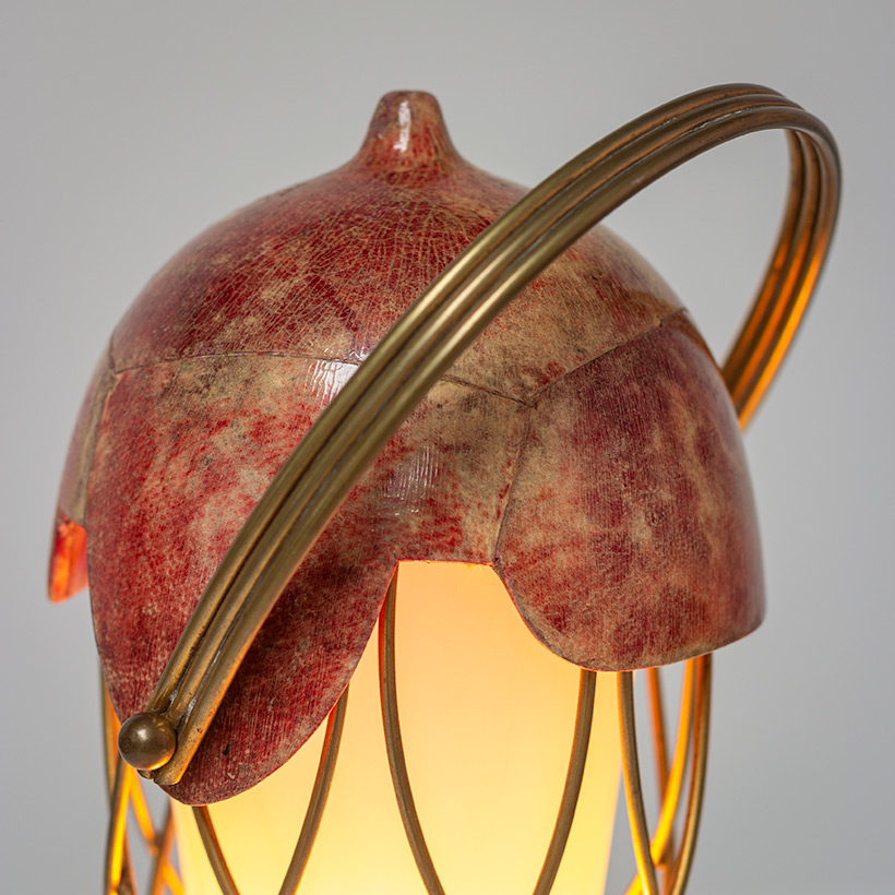 Aldo Tura parchment goatskin table lamp with brass cage 1950s img 4