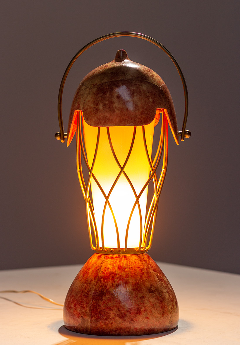 Aldo Tura parchment goatskin table lamp with brass cage 1950s img 5