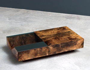 Aldo Tura parchment Italian cocktail coffee table
