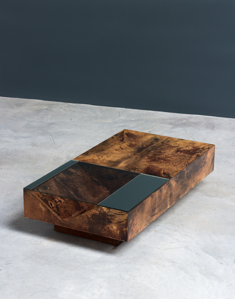 Aldo Tura parchment Italian cocktail coffee table