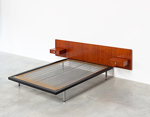 Alfred Hendrickx rosewood double bed DB 150 Belform 1960