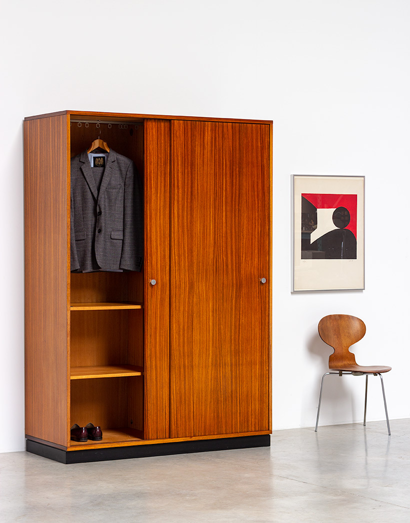 Alfred Hendrickx Zebrano wood wardrobe for Belform 1960