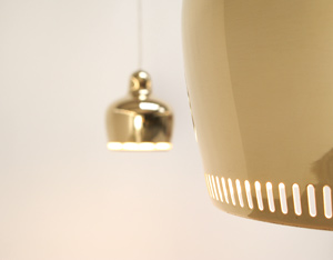 Alvar Aalto Pair of Golden Bell ceiling lamps