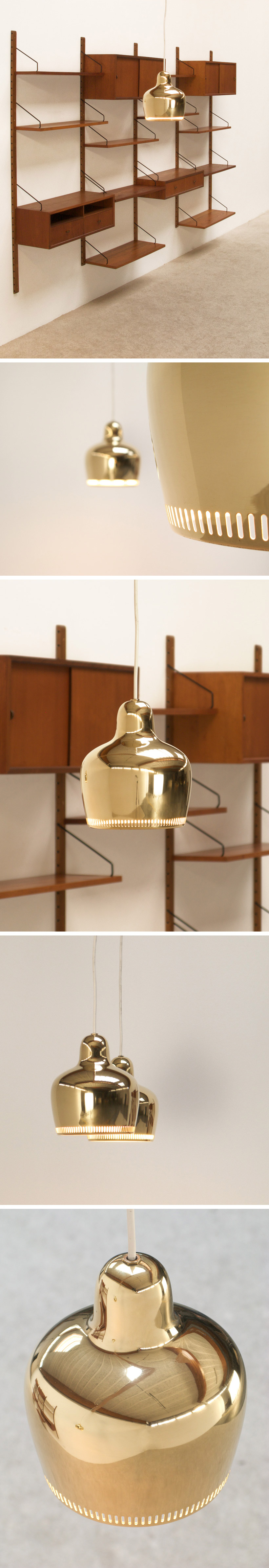 Alvar Aalto Pair of Golden Bell ceiling lamps Large