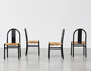 Annig Sarian set of 4 dinning chairs with rush seats T70 Italy 1970
