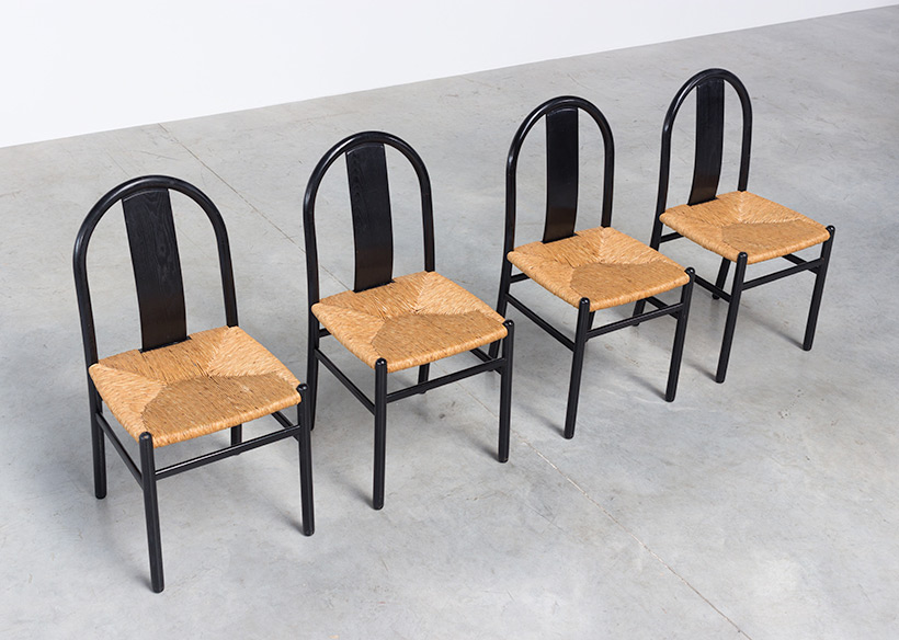 Annig Sarian set of 4 dinning chairs with rush seats T70 Italy 1970 img 5