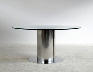 Antonia Astori chrome stainless steel dinning Cidonio table