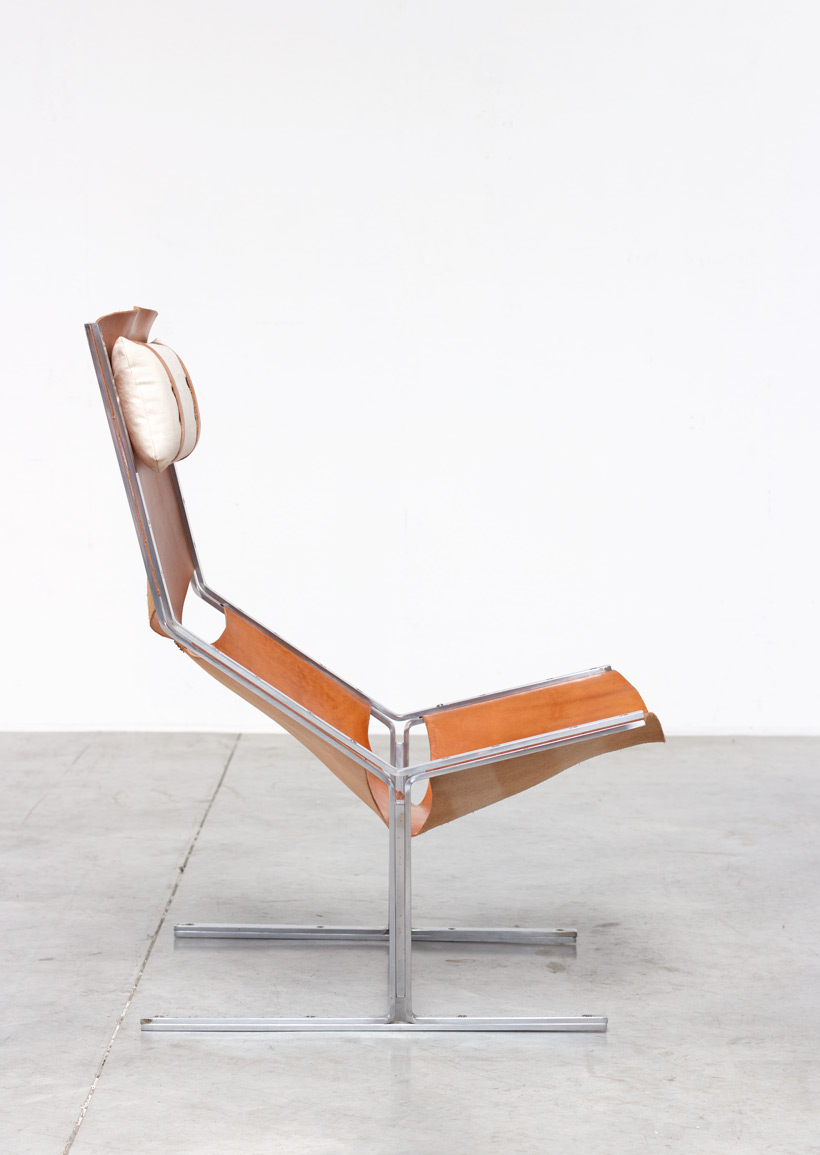 AP originals modernist leather and steel lounge chair 1960