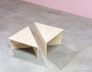Architectural 20th century postmodern triangular low travertine tables by UP UP