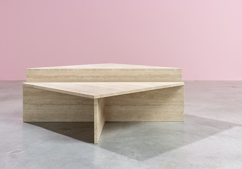 Architectural 20th century postmodern triangular low travertine tables by UP UP img 3