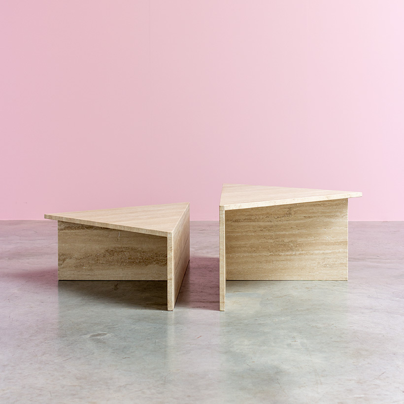 Architectural 20th century postmodern triangular low travertine tables by UP UP img 7