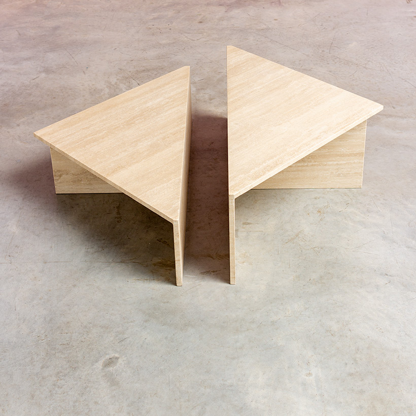 Architectural 20th century postmodern triangular low travertine tables by UP UP img 8